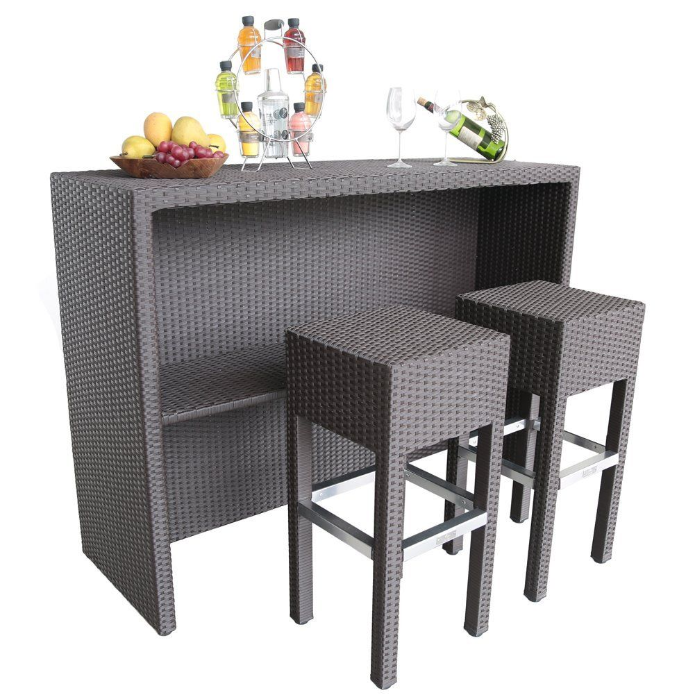 Amazoncom Abba Patio PC Outdoor Wicker Bar Set Patio Furniture - Sarin table