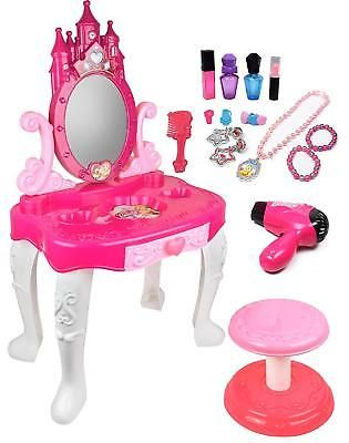 Kids Vanity Table Pretend Play Beauty Makeup Table Chair Fashion