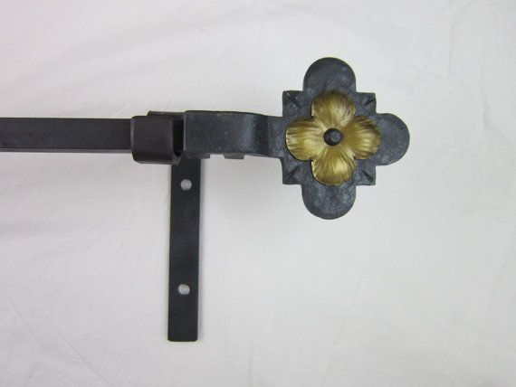 CRP12 gothic dogwood flower curtain rod hardware complete window package offered in 6 finishes on Etsy, $286.00