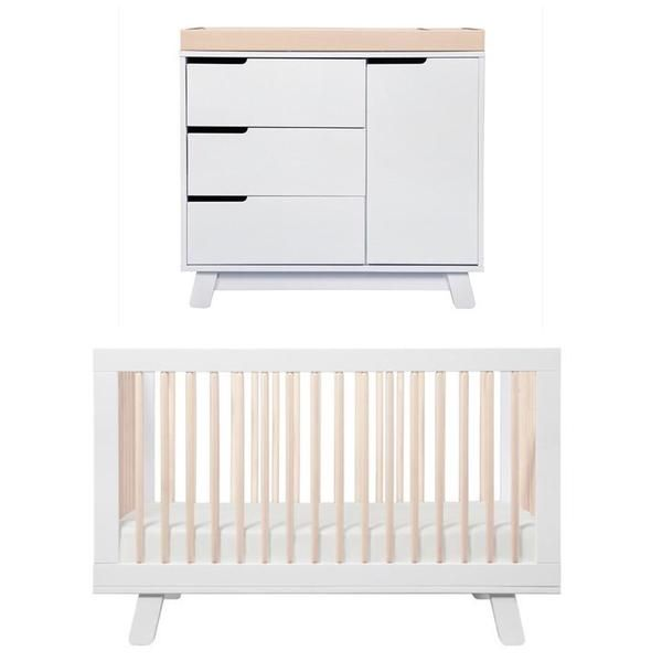 Babyletto Hudson Cot and Change Table Package - White and Washed ...