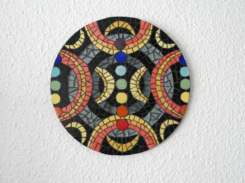 Tableau Rond Mosaique Chakras Croissant Lune Multicolore Red Art