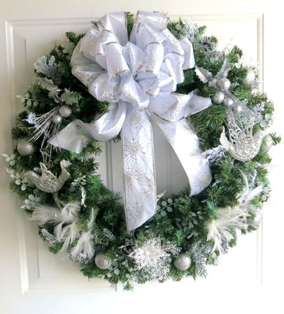 RESERVED - Christmas Wreath - Silver and White Christmas Wreath ...