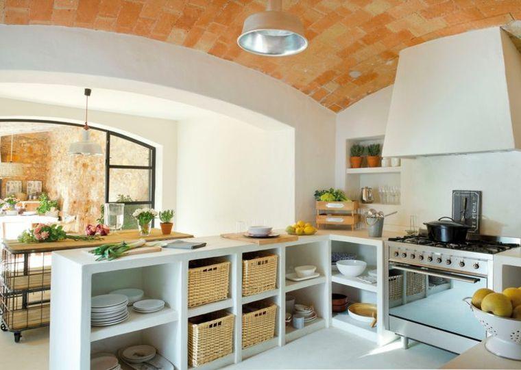 idea per costruire cucina in muratura angolare con ripiani a ...