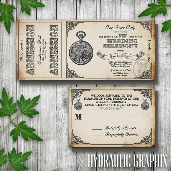 Steampunk Printable Ticket Wedding Invitation and RSVP, Printable - printable ticket invitations