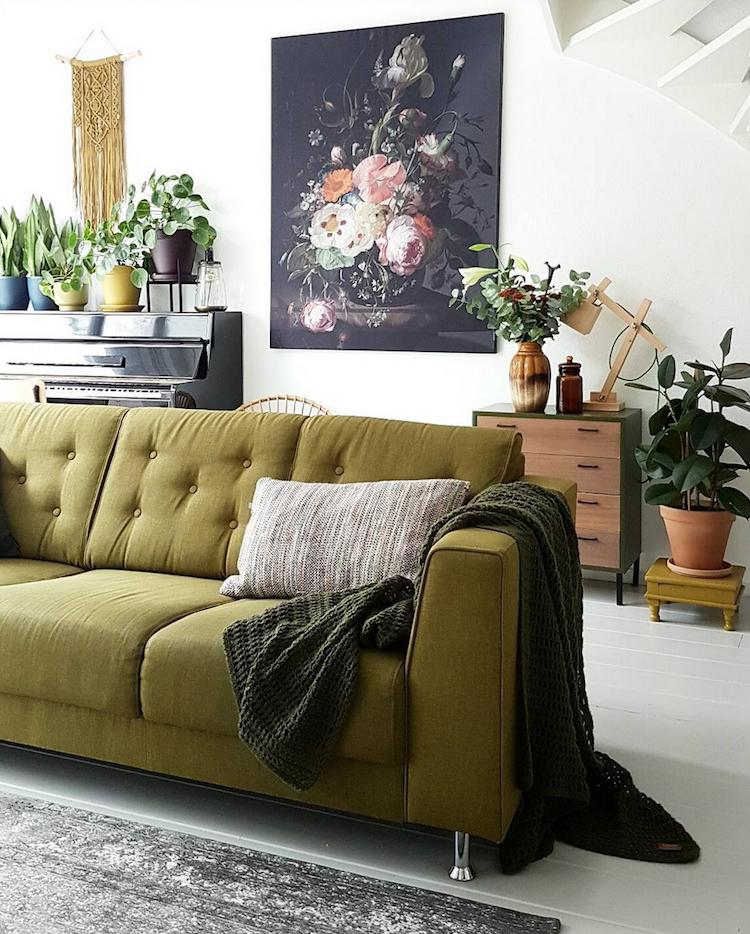 A Dutch Home Gets A Green Make Over My Scandinavian Home Green Couch Living Room Living Room Scandinavian Interior Design