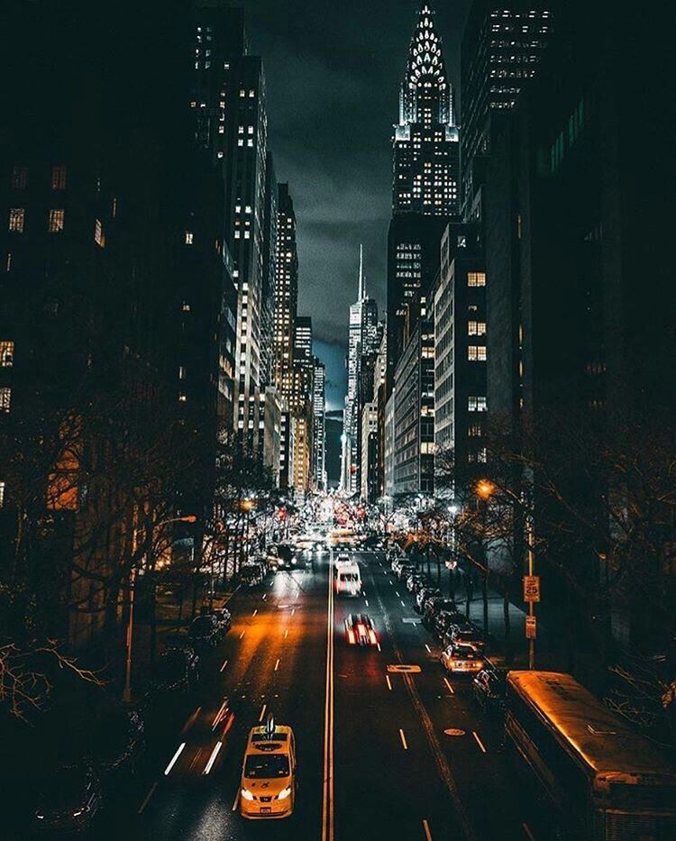 New York Downtown Night Wallpaper