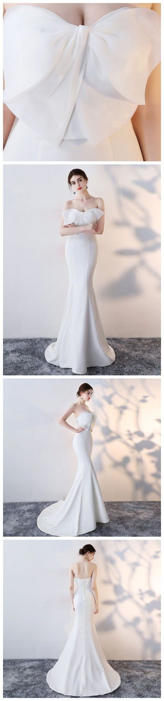 Chic trumpetmermaid strapless satin white simple long prom dress