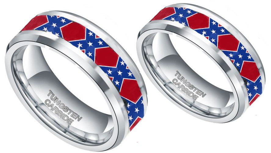 Dixie Flag His Hers Couples Ring Set Silver Camo Wedding