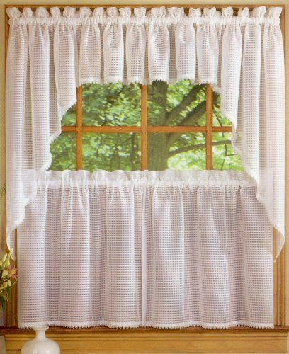 Linen Lorraine Home Fashions: 24'' Tier (pr) Kitchen Curtain By