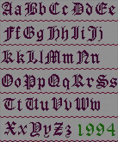 Easy Old English cross stitch pattern-the numbers can be