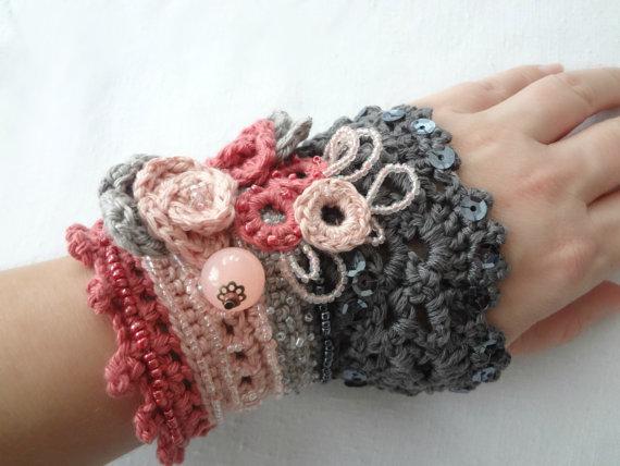 Digital Crochet Pattern Roses In Bloom Crochet Cuff Patterncrochet