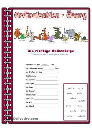 Zahlen _ Ordinalzahlen _ Übung | germany | Pinterest