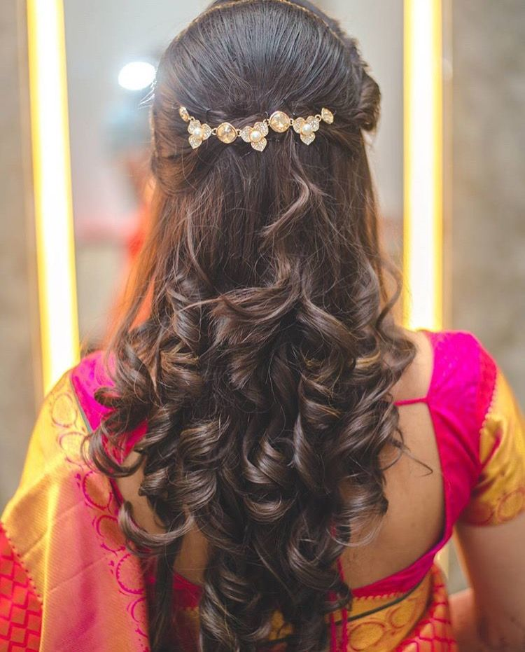 Hair Do For Indian Dressing Style Curly Bridal Hair Medium Hair Styles Wedding Hairstyles For Long Hair