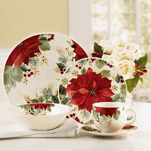 57 Beautiful Christmas Dinnerware Sets: Holiday Grace Dinnerware   The  Paragon. Set On A