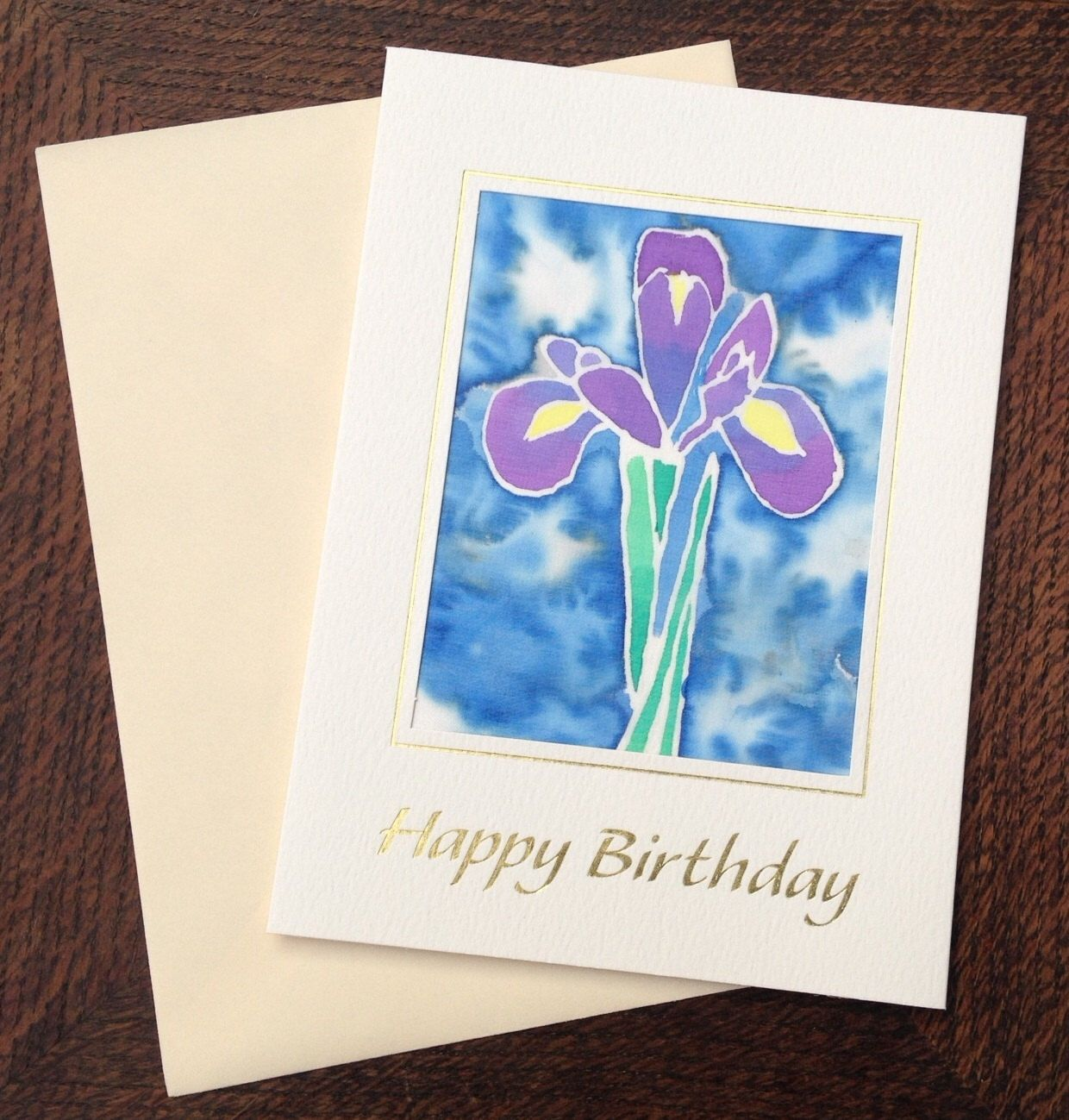 Purple iris birthday card, original silk painting, cream card with gold greeting and cream envelope door icanseetrees op Etsy https://www.etsy.com/nl/listing/199355226/purple-iris-birthday-card-original-silk