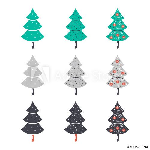 Christmas New Year vector clipart Hand drawn flat christmas trees Colorful set Design elements
