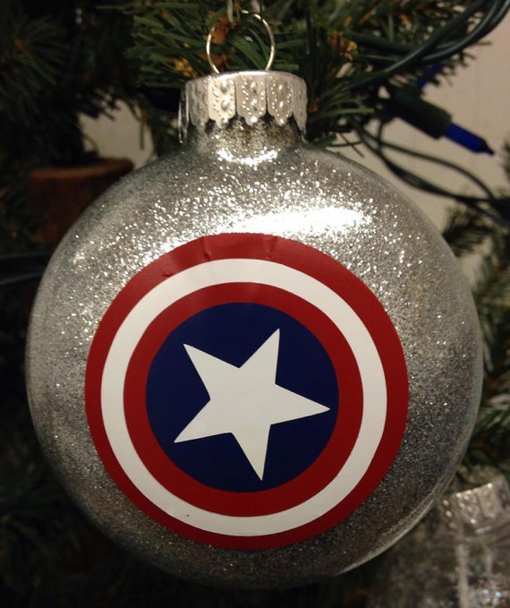 holiday christmas tree ornament marvel comic superhero captain