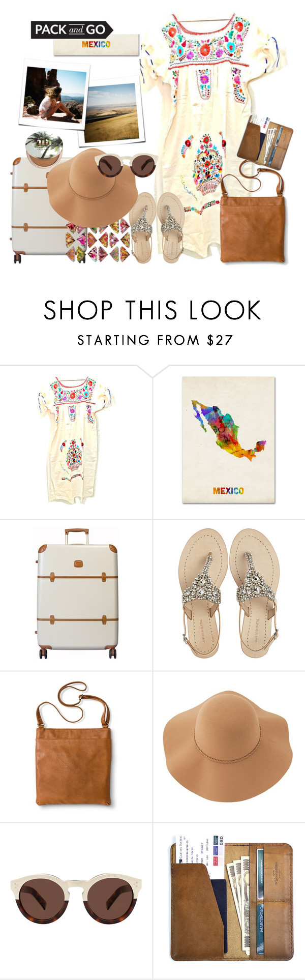 """""""Pack and Go: Mexico"""" by splendourit ❤ liked on Polyvore featuring Trademark Fine Art, Bric's, Antik Batik, Merona, Sans Souci, Illesteva, CO and Urban Decay"""
