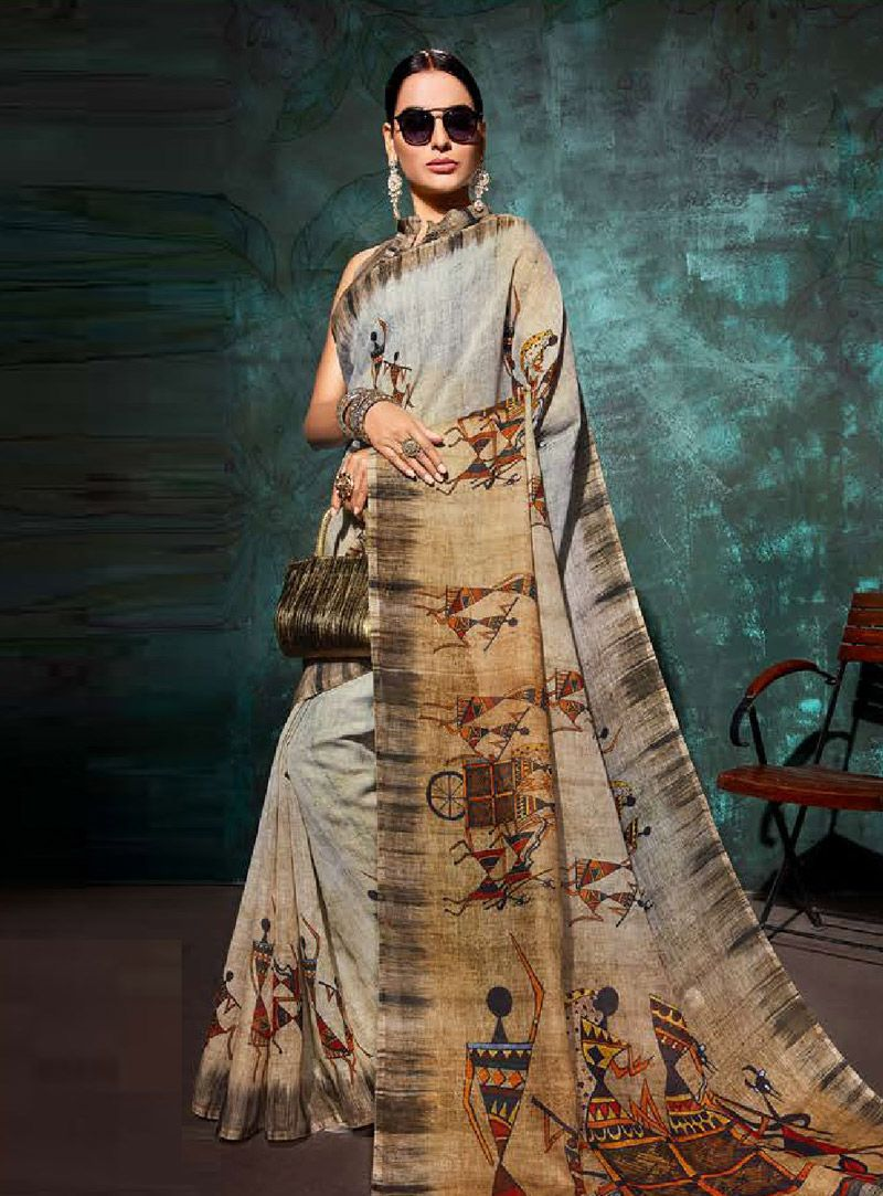 032efc47471c7a Buy Gray Khadi Festival Wear Saree 146710 with blouse online at lowest price  from vast collection of sarees at Indianclothstore.com.