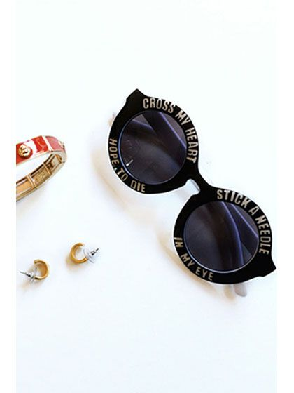 dda1752758 Vintage Circle Sunglasses With White Letters