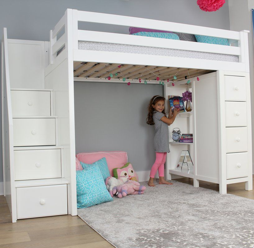 Ayres Twin Loft Bed With Drawers And Shelves Twin Loft Bed Kids