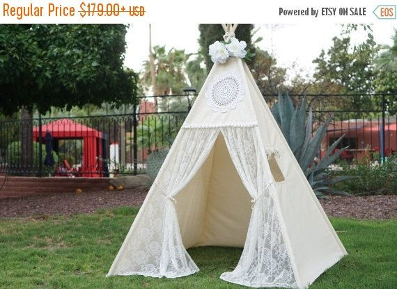 Ready to ship Vintage lace teepee tent with nature canvas/kids Play tent/ girls & Vintage lace teepee tent with nature canvas/kids Play tent/ girls ...