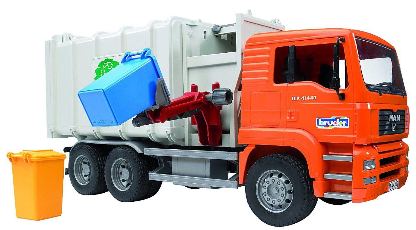 Bruder man side loading garbage truck orange free shipping