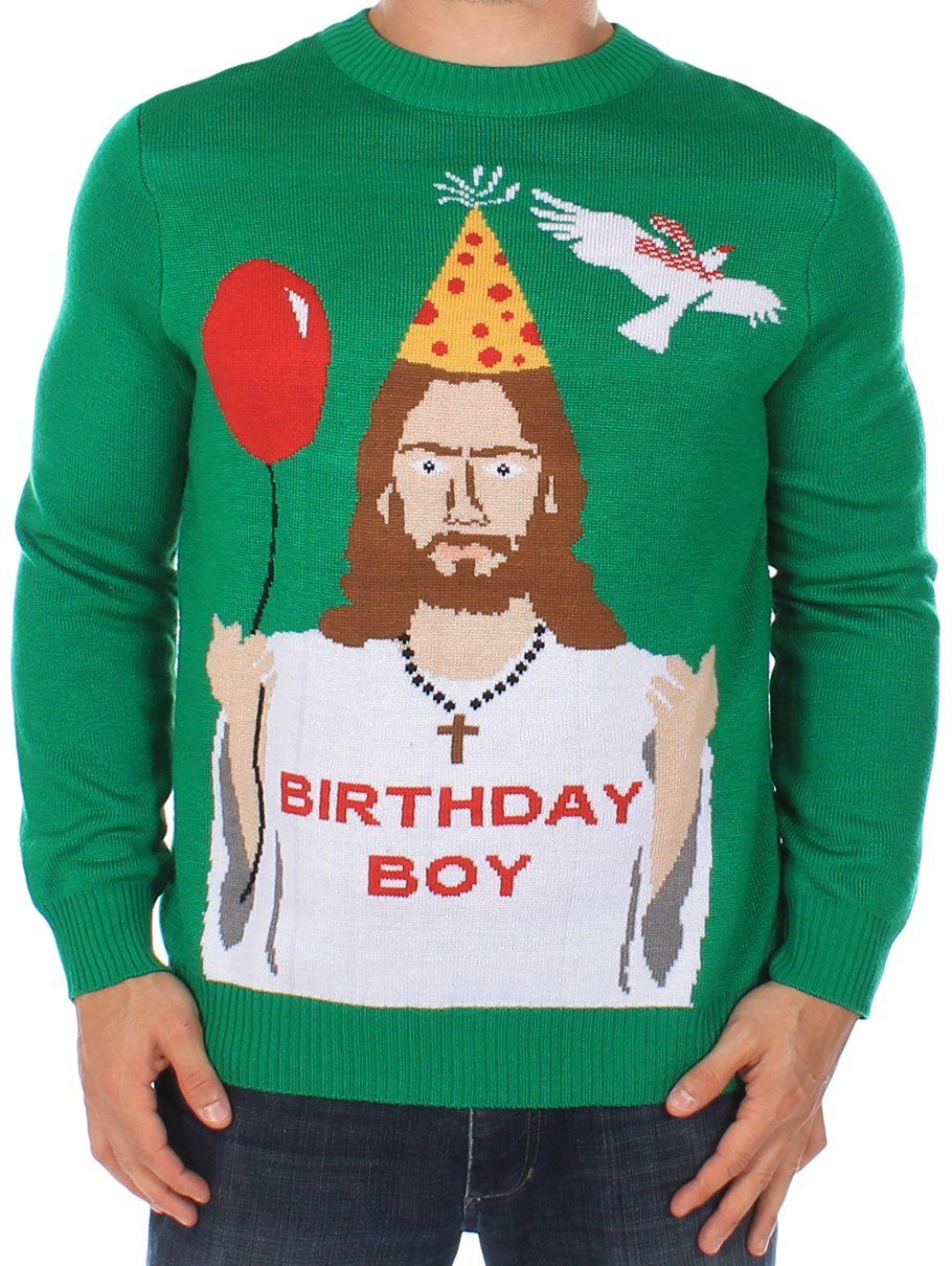 Men's Ugly Christmas Sweater - Happy Birthday Jesus Sweater Green ...