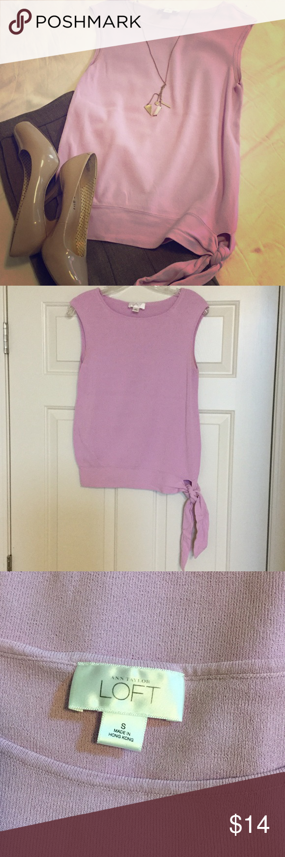 👠 Cute Sleeveless Top 👠 This lavender sleeveless top is just adorable! It's a rayon/nylon mix. Very comfortable and flowy. Professional look, with a fun tie at the waist. Size small. LOFT Tops Tank Tops