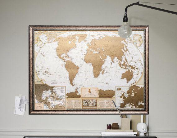 Large framed premium gold scratch off world map the best business large framed premium gold scratch off world map the best business gift office decor gumiabroncs Gallery