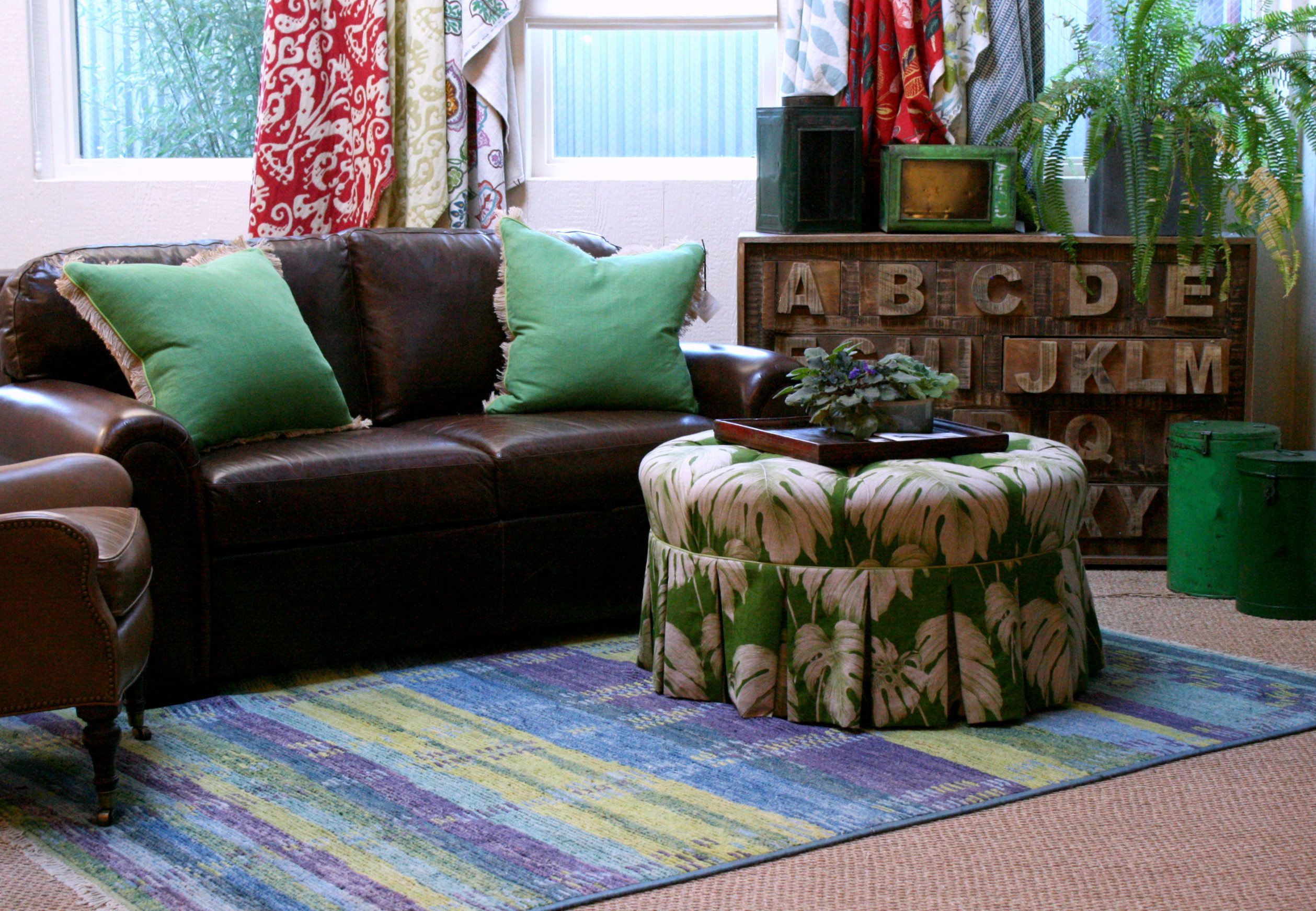 Brown Sofa With Green Accessories Google Search Green Cushions