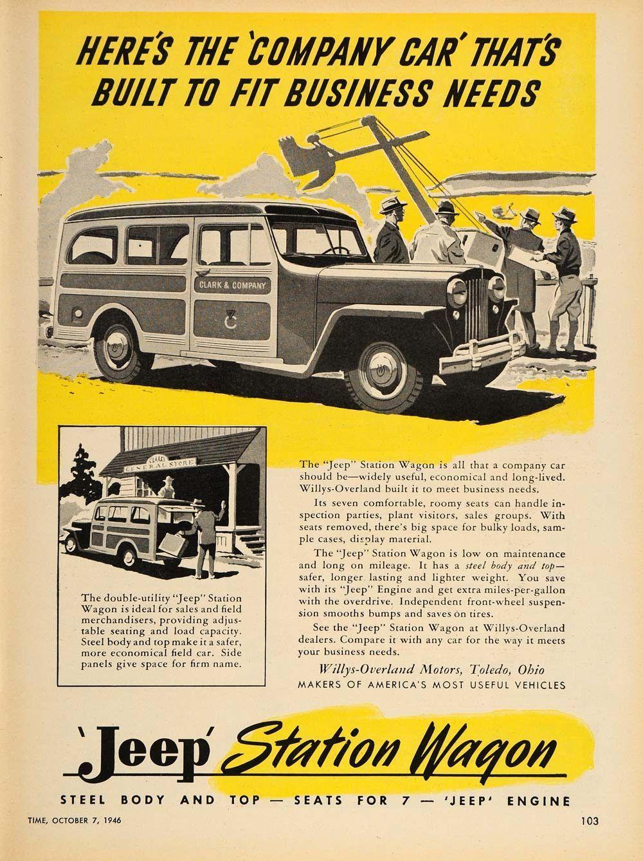 1946 Ad Jeep Station Wagon Willys Overland Toledo Oh Original