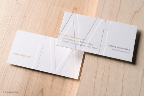 Modern Classic Embossed Smooth White Business Card Template Wise Interior Uncoated Business Cards Suede Business Cards White Business Card