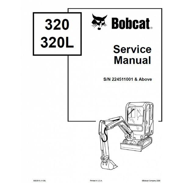 Bobcat 320, 320L Excavator Service Repair Manual PDF S/N