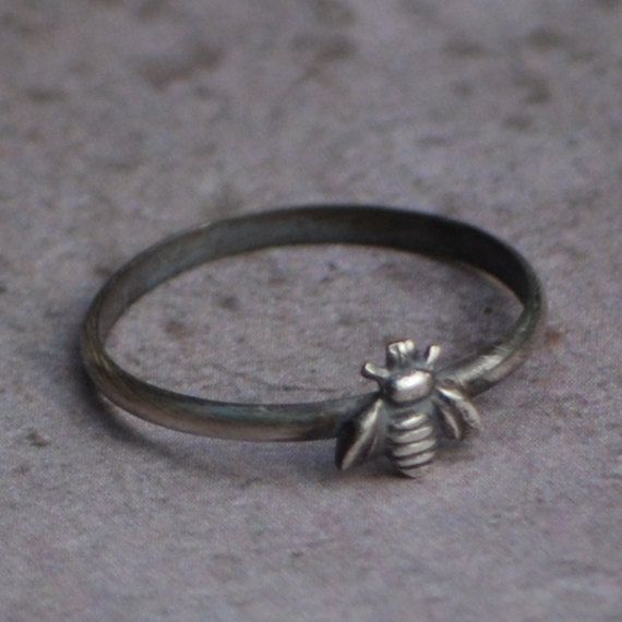 Rustic Bee Ring Petite Sterling Silver Bee by JoLovesJewelry