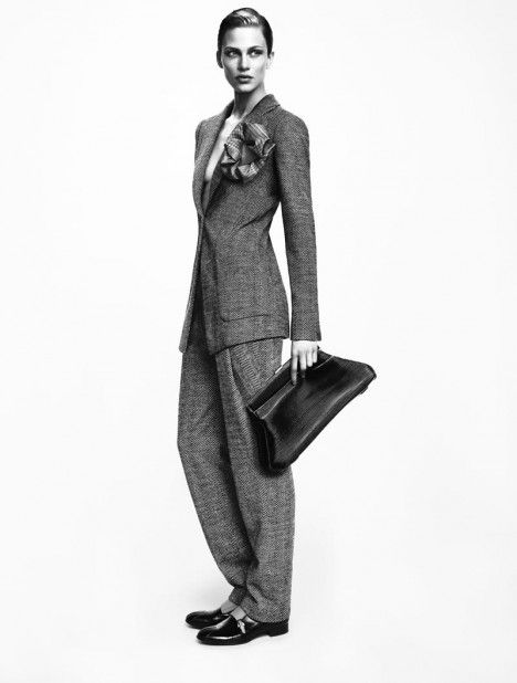 oversize suit: Giorgio Armani Fall/Winter 2012 ad campaign features Simon Nessman & Aymeline Valade shot by Mert & Marcus.