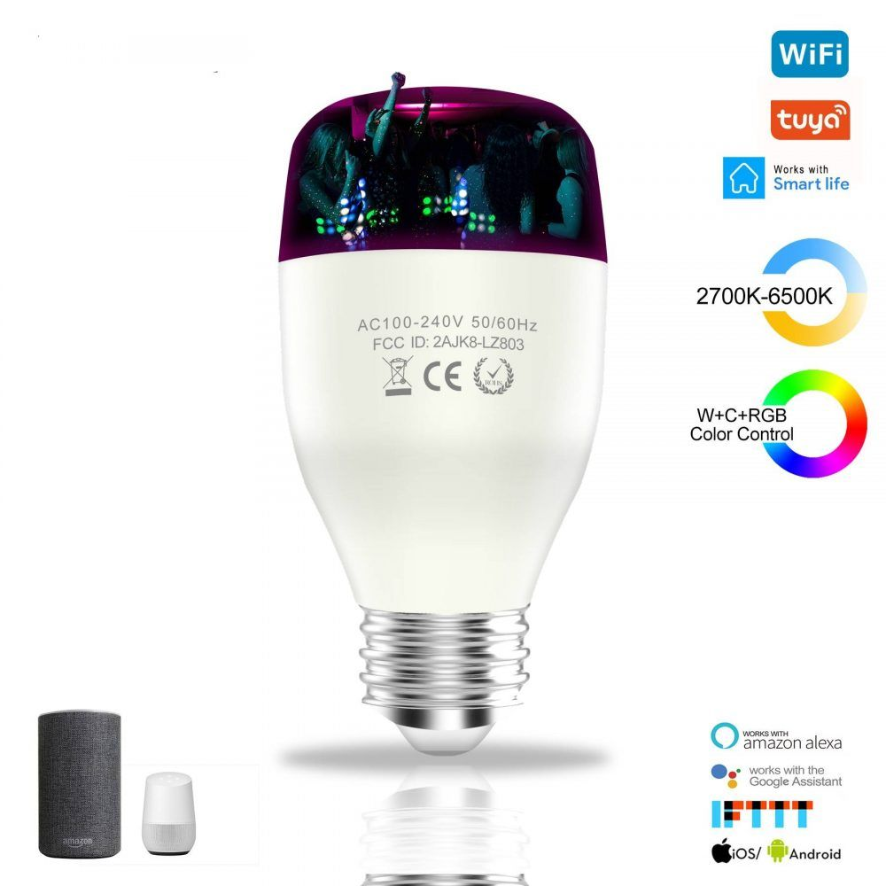 E26 27 Wifi Inteligente Bombilla Led 7 9w Wcrgb Luz Inteligente Y Regulable La Bombilla De La Lampara Cambia De Color Con Musica Compatible Con Alexa De Google En 2020 Bombillas Led Bombillas Led