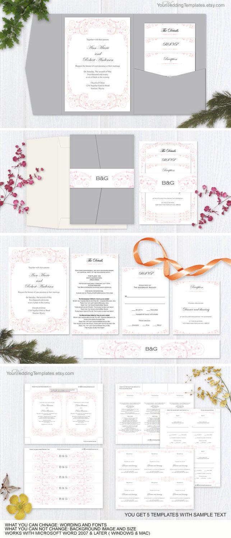 DIY wedding pocketfold invitation suite templates| Pink vintage ...