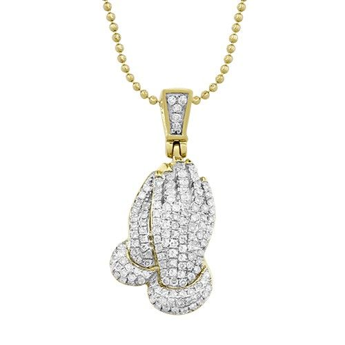 Diamond Praying Hands Pendant In 10k Yellow Gold 0 51 Ctw Fine Gold Necklace Diamond Pendant Pendant