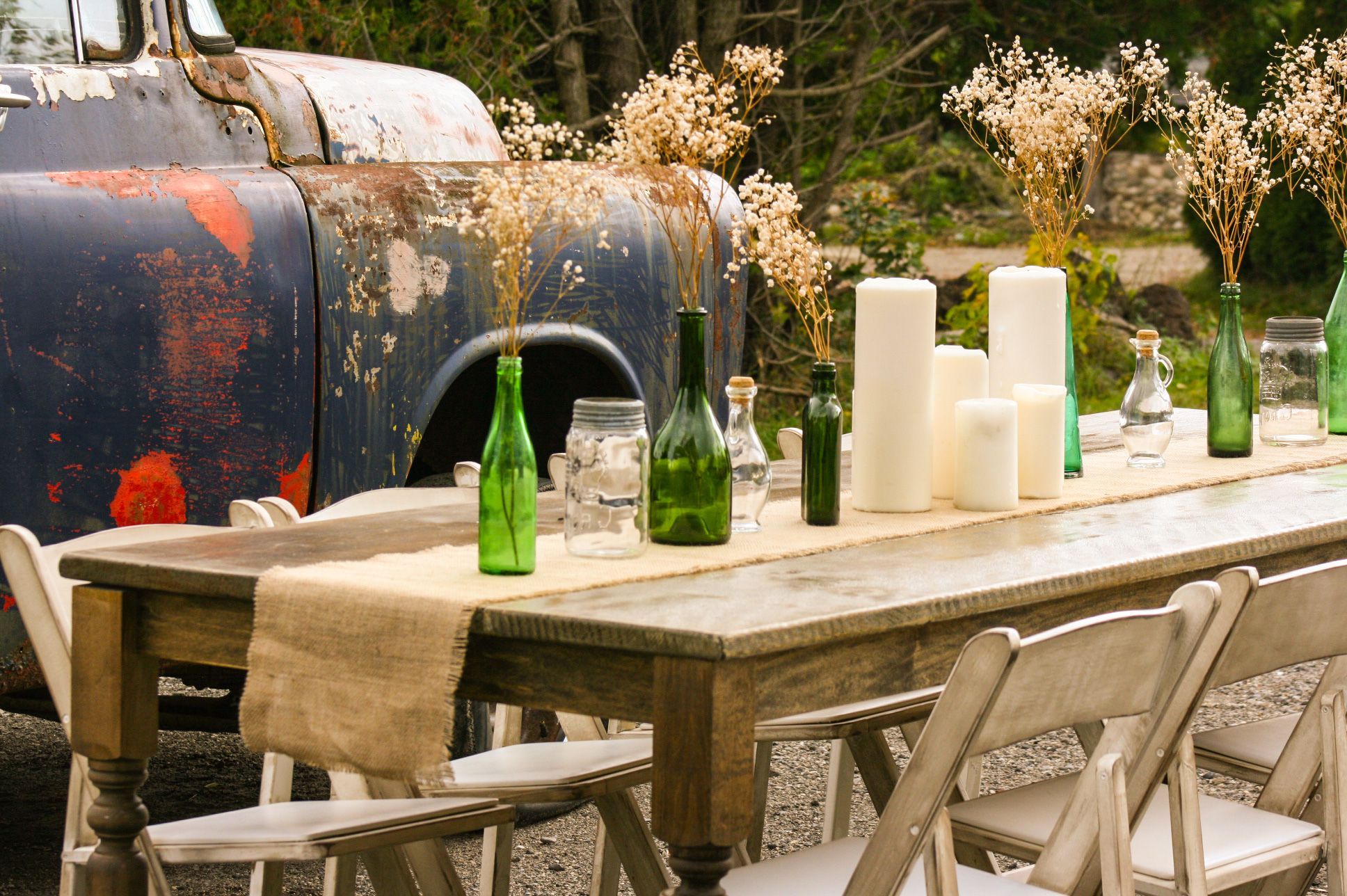 Harvest Table And Shabby Chic Chairs. Burlap Table Runner, With Vintage  Green Bottles,