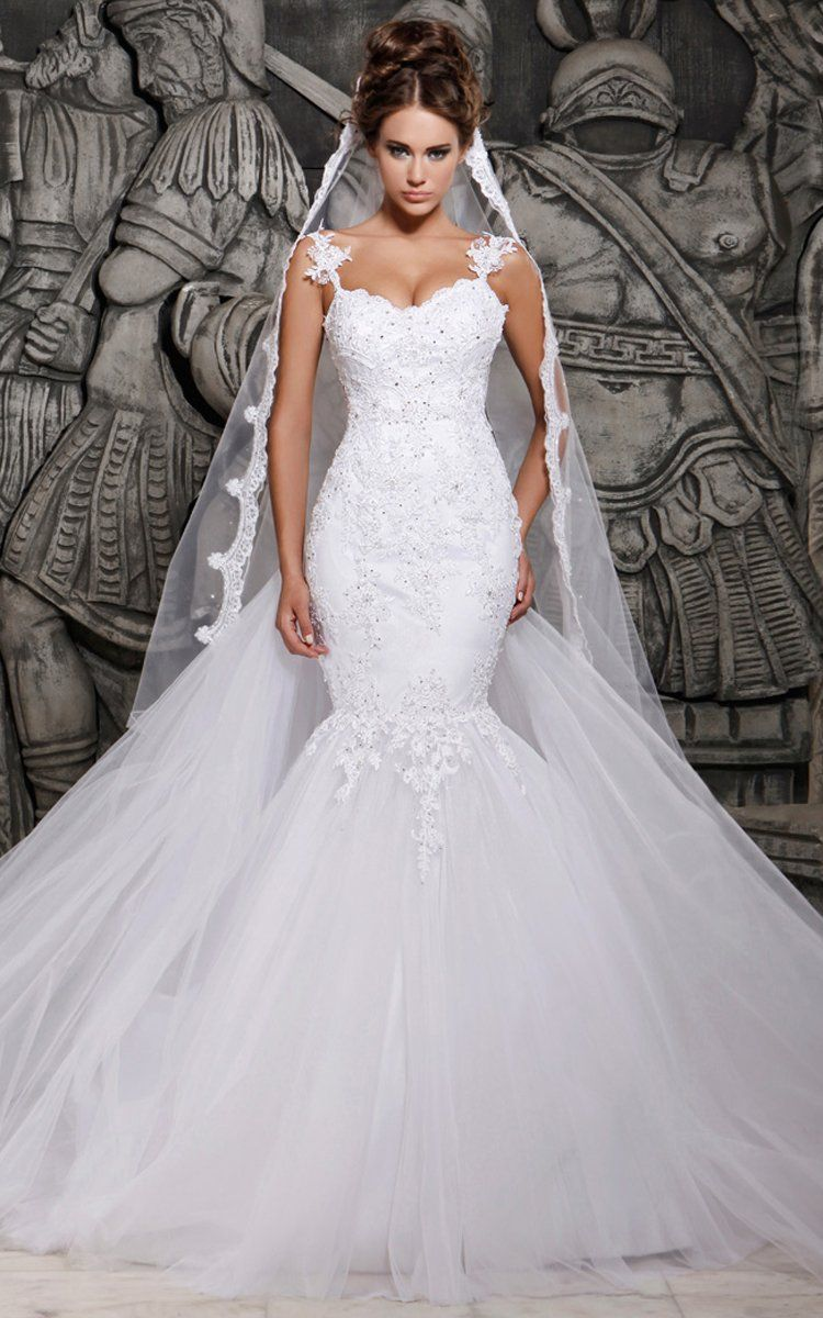 Magnificent tulle mermaid lace wedding dress with wedding veil in