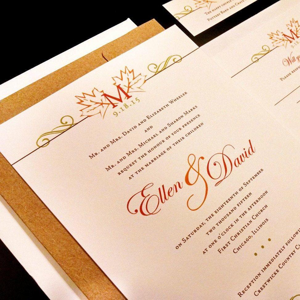 Fall Monogram Leaves Custom Unique Wedding Invitation Autumn Leaf ...