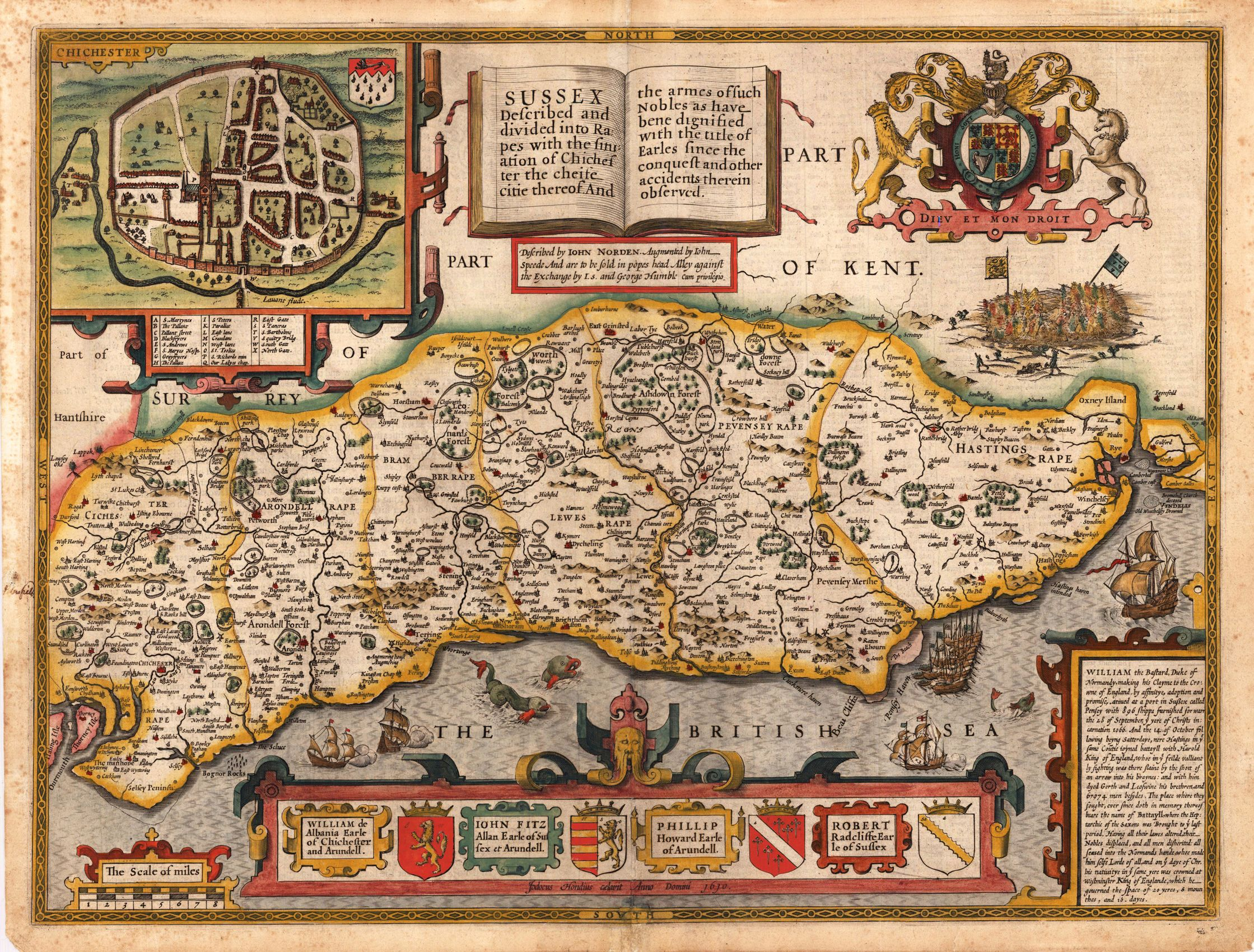 Antique map of part of England