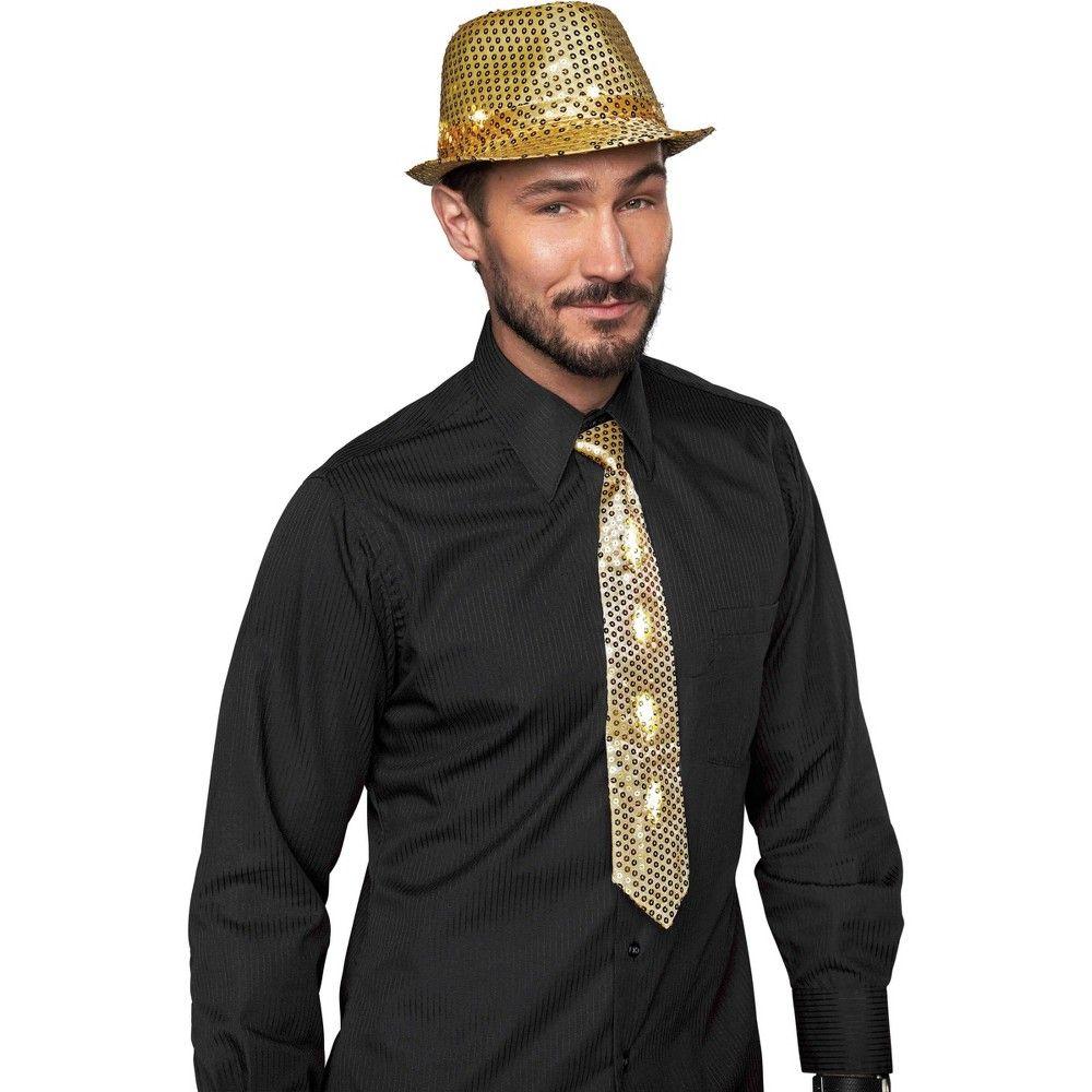 Halloween Men's Light up Fedora Hat & Tie Gold New Year's