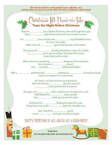 Twas the Night Before Christmas Fill-Them-in Tale | School goodies ...