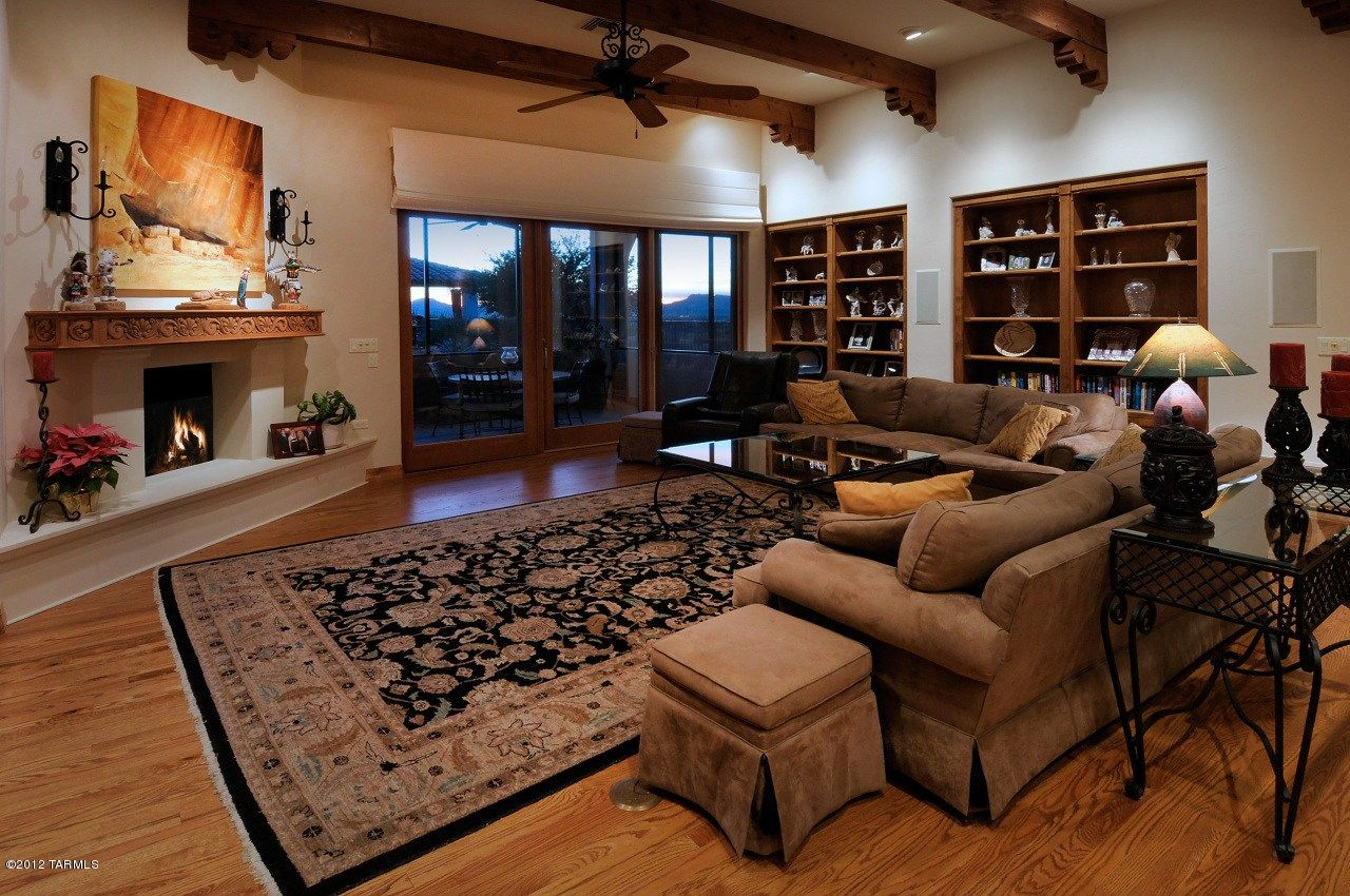 Living room with view of tucson mountains