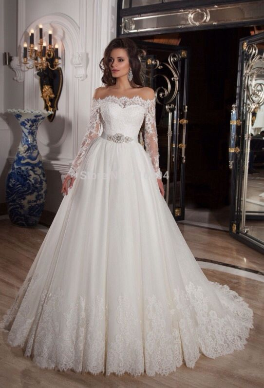 Delightful Absolute Dream Dress Long Sleeve Bardot Style, Lace, White Princess Wedding  Dress.
