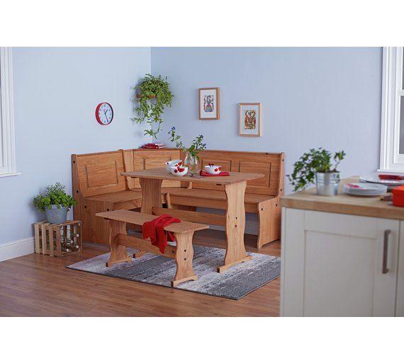 Home Puerto Rico Wood Nook Table 3 Corner Bench Set