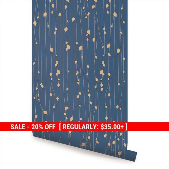Leaves Blue Peel & Stick Fabric Wallpaper von AccentuWall auf Etsy