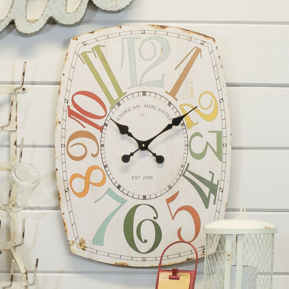 """27"""" Wall Clock Charming Vintage Oval Shaped Wall Mounted"""
